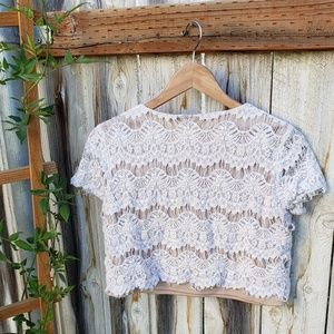 Forever 21 Tops - Forever 21 | Lace Crop Top | White